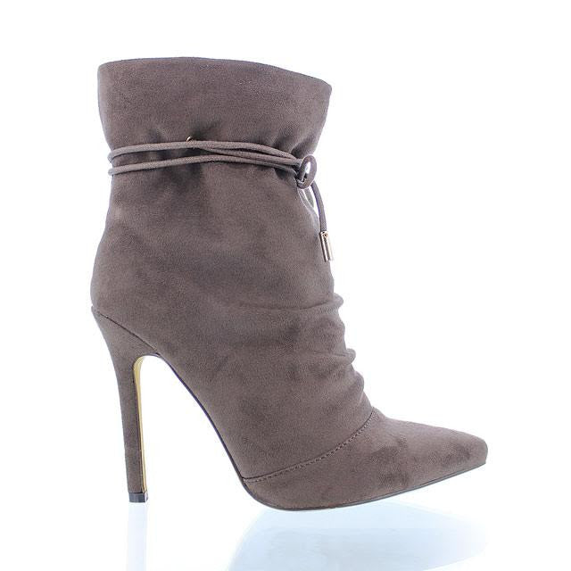 Taupe Pointy Toe Ankle Bootie - Obsessive Shoe Addict