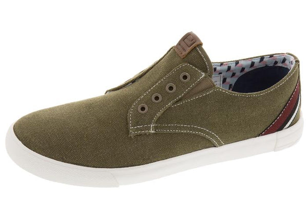 Ben Sherman Pete Laceless Olive Canvas - Obsessive Shoe Addict