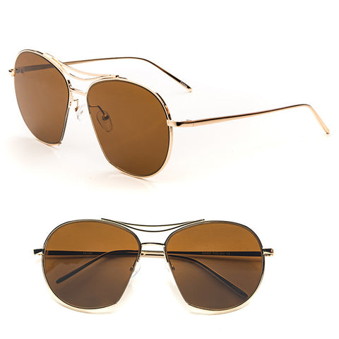 Brown Retro Aviator Sunglasses