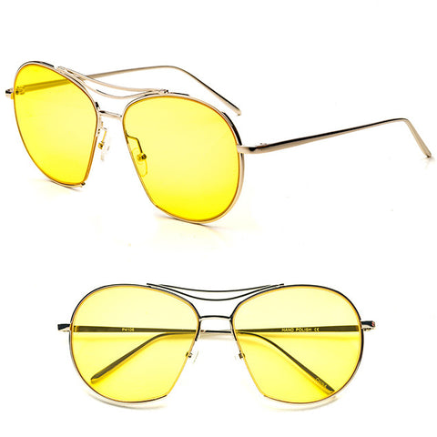 Yellow Retro Aviator Sunglasses