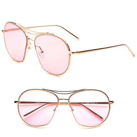 Pink Retro Aviator Sunglasses