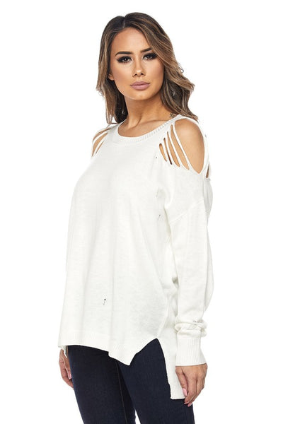 White Distressed Knit Top - Obsessive Shoe Addict