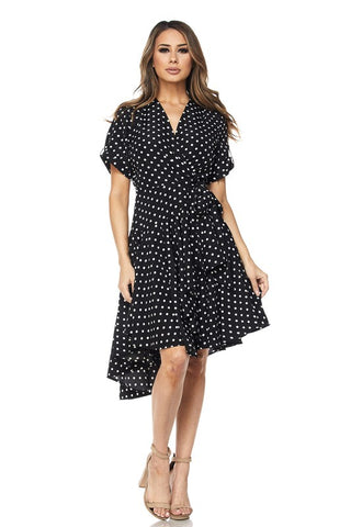 Black Cherille Polka Dot Wrap Dress