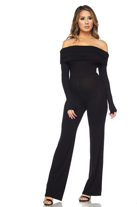 Black Off Shoulder Jumpsuit - Obsessive Shoe Addict