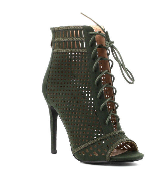 Olive Lace Up Open Toe Ankle Bootie - Obsessive Shoe Addict