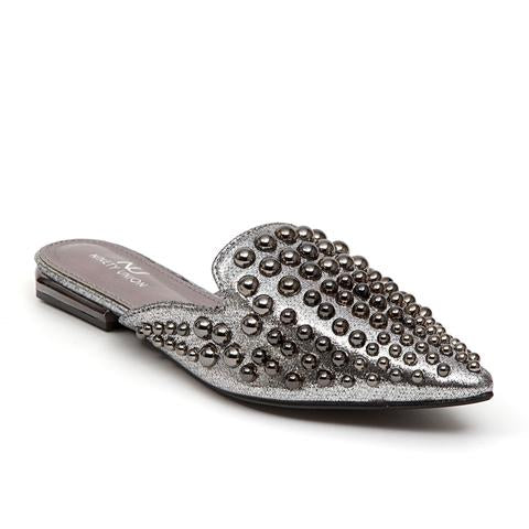 Dizzy Pewter Studded Flat - Obsessive Shoe Addict
