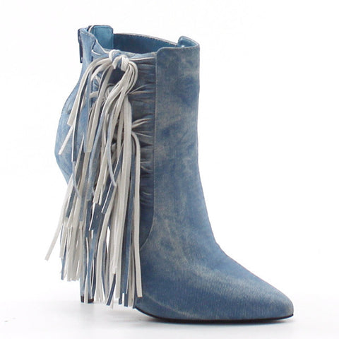 Luichiny Going Fast Fringe Denim Bootie - Obsessive Shoe Addict