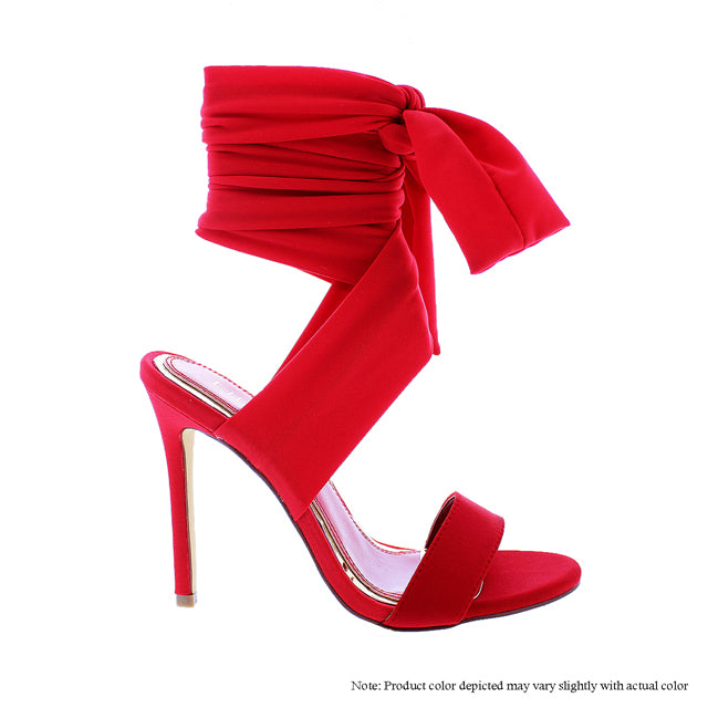 Red Sexy Tie Me Up Ankle Heel - Obsessive Shoe Addict