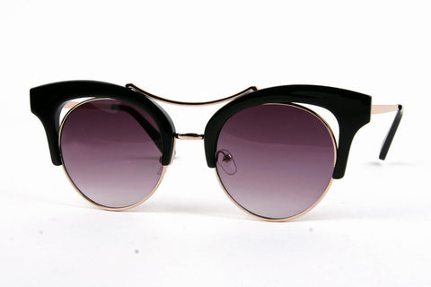 Black Retro Metal Cat Eye Sunglasses
