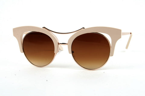 Cream Retro Metal Cat Eye Sunglasses