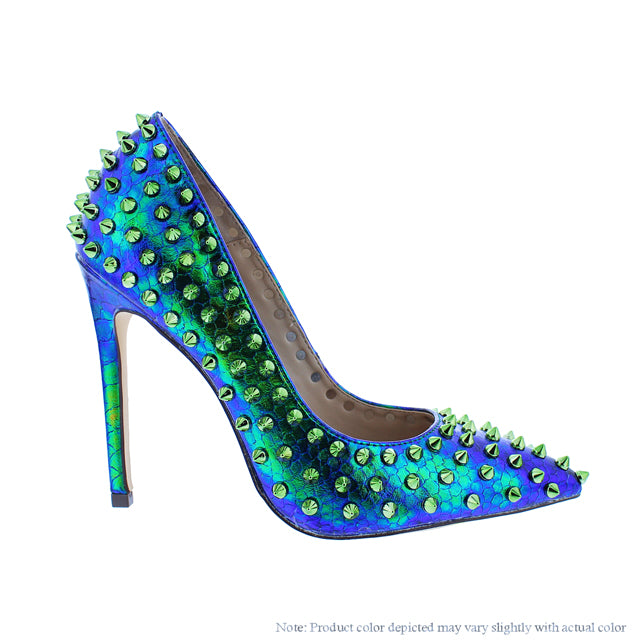 Green Hologram Spike Pump - Obsessive Shoe Addict