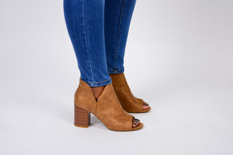 Camel Chunky Heel Open Toe Bootie - Obsessive Shoe Addict