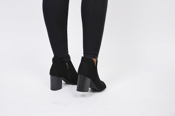 Black Chunky Heel Open Toe Bootie - Obsessive Shoe Addict