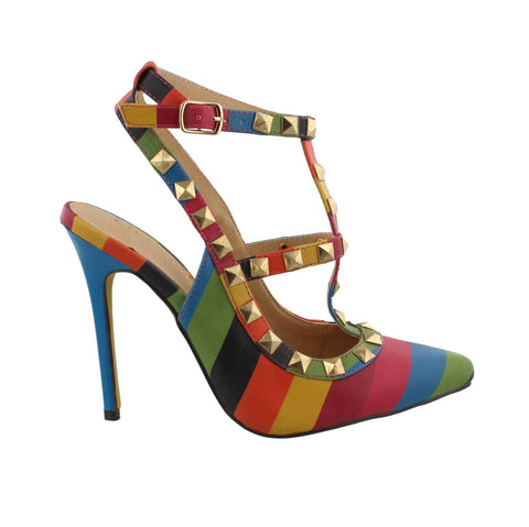 Studded Rainbow Slingback Pump