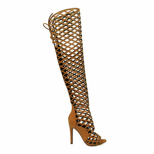Tan Caged Gladiator Heels - Obsessive Shoe Addict