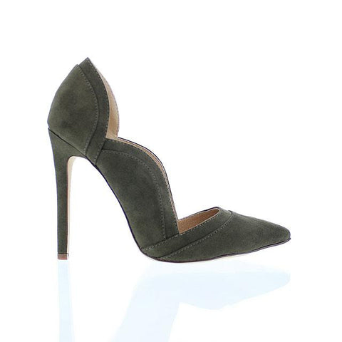 Olive Wavy Side Pump - Obsessive Shoe Addict