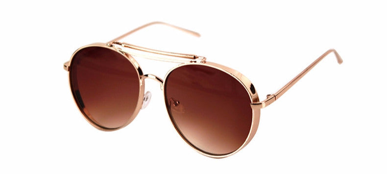 Brown Round Aviator Sunglasses