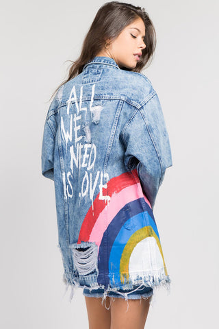 Rainbow Love Denim Jacket - Obsessive Shoe Addict