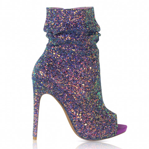 Violet Spotlight Open Toe Ankle Boot - Obsessive Shoe Addict