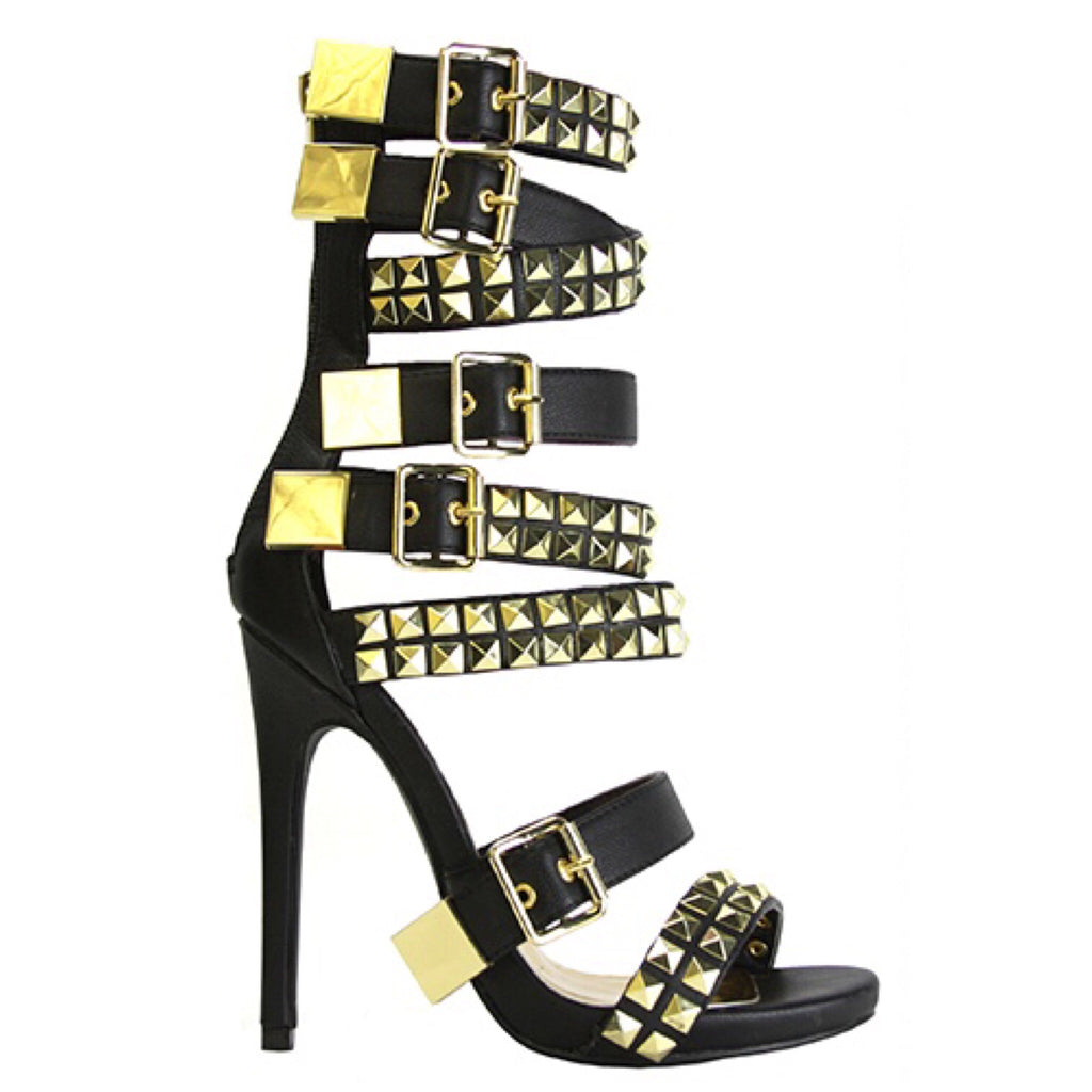 NEVAEH Gold Studded Buckled Heel