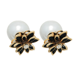 Black & Gold Double Sided Pearl Earrings - Obsessive Shoe Addict