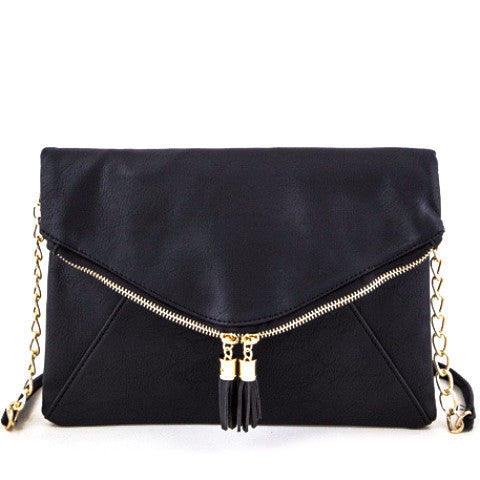 Tassel Zipper Folding Clutch