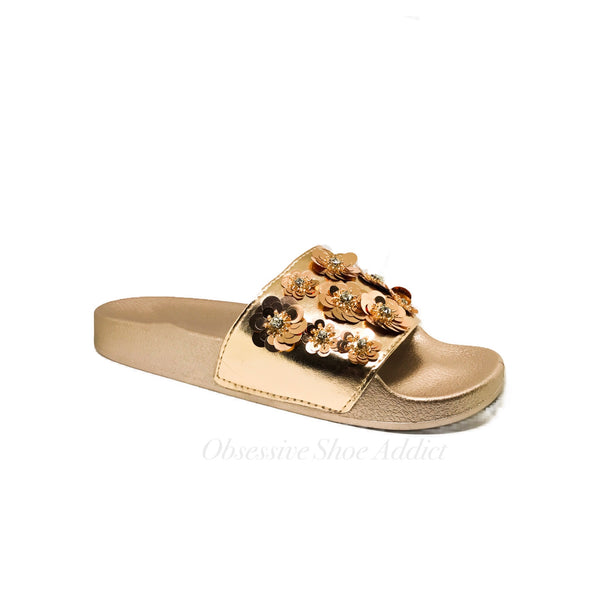 Rose Gold Sequin Floral Slides - Obsessive Shoe Addict