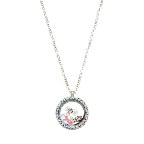 Silver Tone Breast Cancer Awareness Necklace