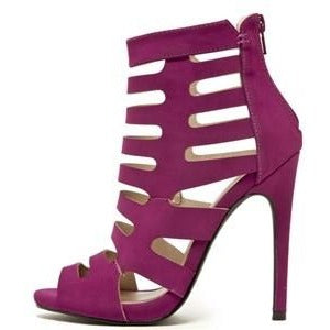 Magenta Peep Toe Strappy Caged Bootie - Obsessive Shoe Addict
