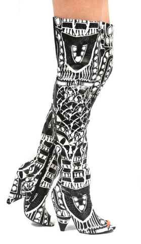 Black and White RiRi Boots - Obsessive Shoe Addict