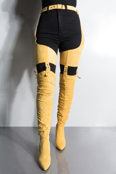 Yellow Waisted Thigh High Chunky Heel Boot - Obsessive Shoe Addict