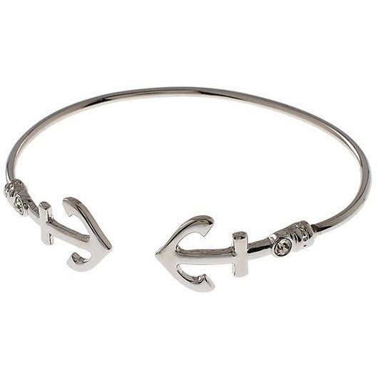 Silver Tone Anchor Bangle