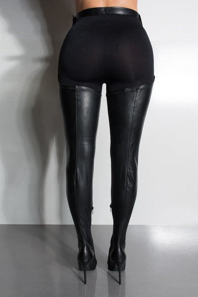 Black Waisted Thigh High Stiletto Heel Boot - Obsessive Shoe Addict