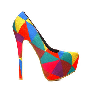 Polly Tri-Color Platform Pump - Obsessive Shoe Addict