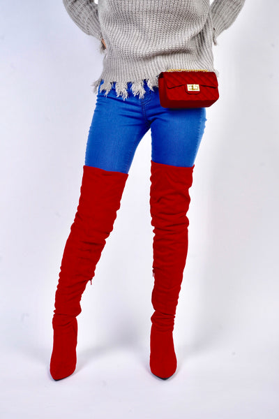 Red Thigh High Slouch Boots - Obsessive Shoe Addict
