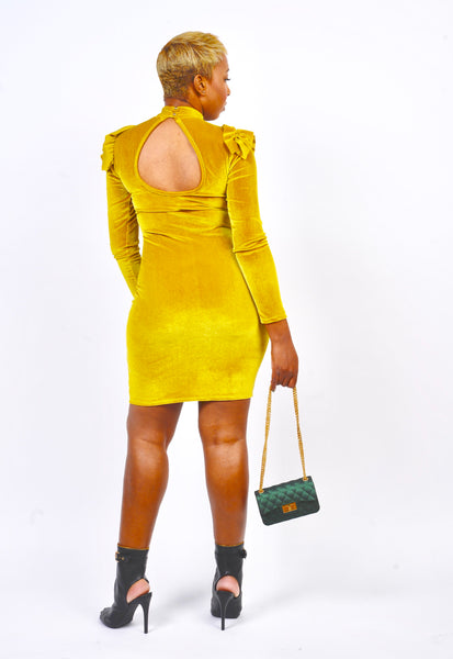 Mustard Ruffled Shoulder Dress - Obsessive Shoe Addict