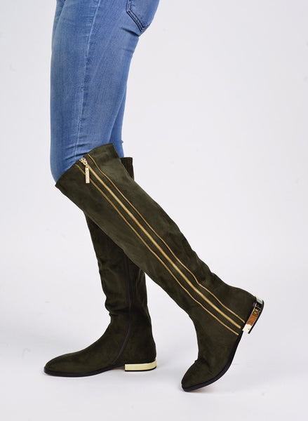 Lady Couture Uptown Olive Zipper Knee Boot - Obsessive Shoe Addict