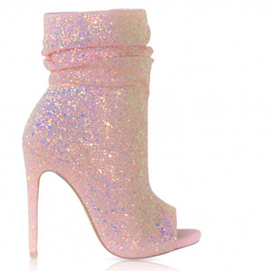 Pink Spotlight Open Toe Ankle Boot - Obsessive Shoe Addict