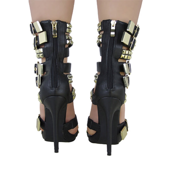 NEVAEH Gold Studded Buckled Heel - Obsessive Shoe Addict