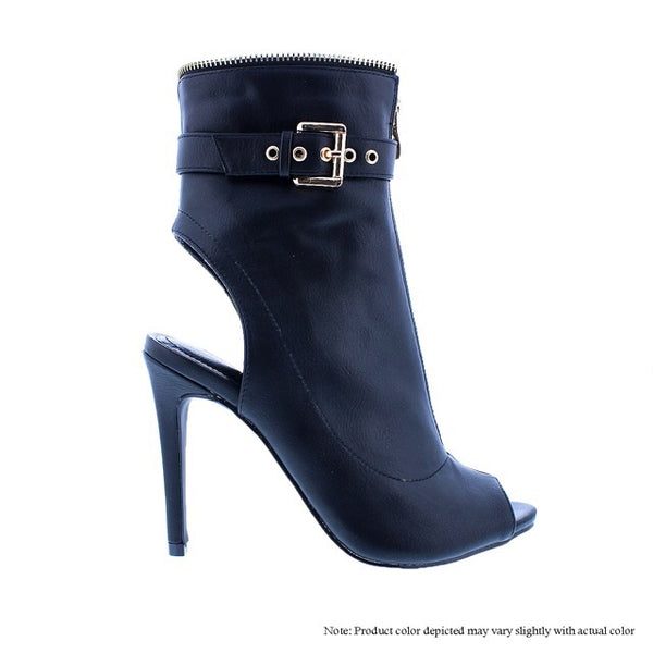 Black Open Toe Ankle Zipper Bootie - Obsessive Shoe Addict