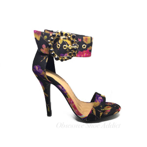 Black Multi Floral Heel - Obsessive Shoe Addict