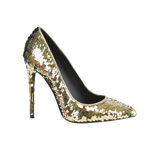 Nelly Bernal Famous Sequin Gold Pump - Obsessive Shoe Addict
