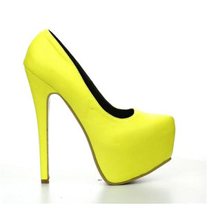 Polly Neon Yellow Platform Pump - Obsessive Shoe Addict