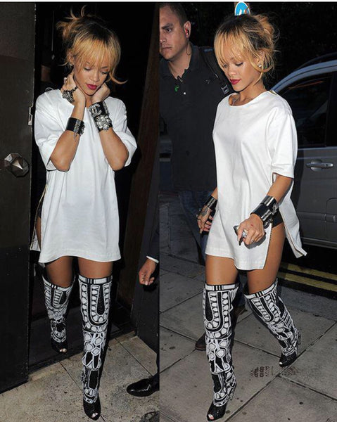 Black and White RiRi Boots