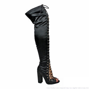 Black Thigh Lace Up Chunky Heel Boot - Obsessive Shoe Addict