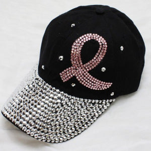 Black Pink Ribbon Bling Hat - Obsessive Shoe Addict
