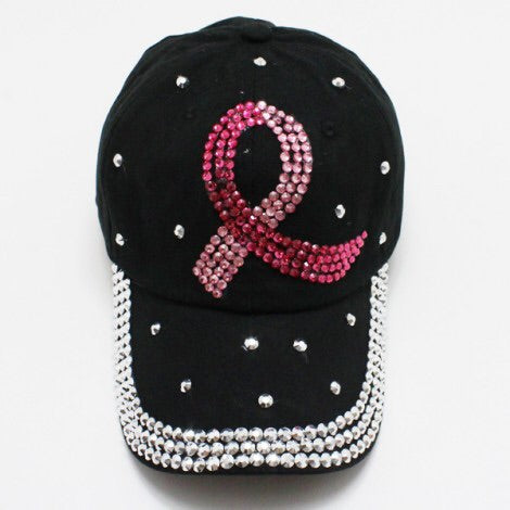 Two Toned Black Pink Ribbon Bling Hat - Obsessive Shoe Addict