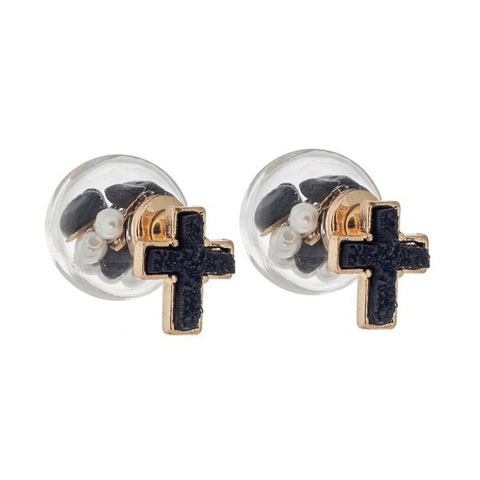 Black & Gold Double Sided Cross Earrings
