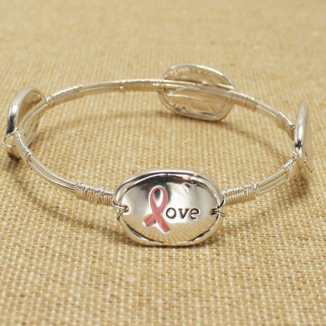 Pink Ribbon Live Laugh Love Bracelet - Obsessive Shoe Addict
