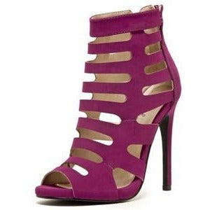 Magenta Peep Toe Strappy Caged Bootie